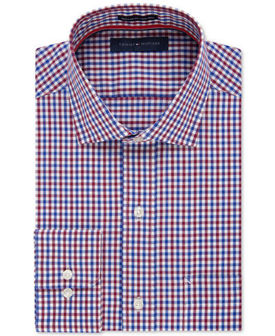 Tommy Hilfiger Men 39 S Classic Fit Non Iron Red And Blue