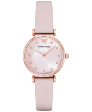 Emporio Armani Women's Gianni T-Bar Pink Leather Strap Watch
