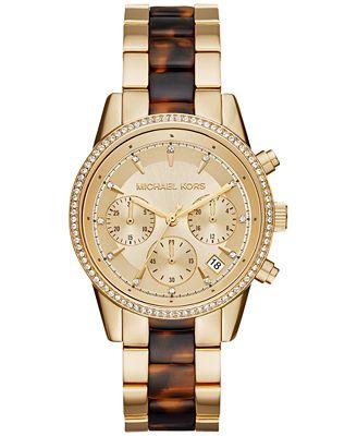 Michael Kors Women's Chronograph Ritz Gold-Tone Stainless Steel and Tortoise-Look Bracelet Watch 37mm MK6322