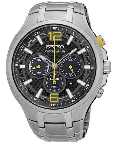 Seiko Men's Solar Chronograph Recraft Series Stainless Steel Bracelet Watch 45mm SSC449
