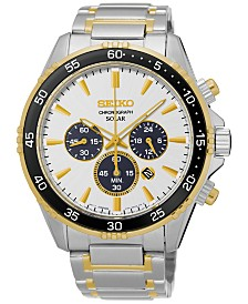 Seiko Men's Solar Chronograph Two-Tone Stainless Steel Bracelet Watch 44mm SSC446
