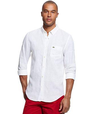 Lacoste Men's Button-Down Shirt - Casual Button-Down Shirts - Men ...