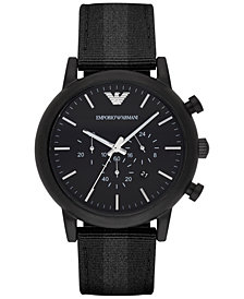 Emporio Armani Men's Chronograph  Black Leather Backed Nylon Strap Watch 46mm AR1948