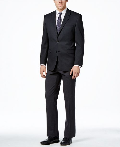 Alfani Men's Traveler Charcoal Solid Classic-Fit Suit Separates, Created for Macy's