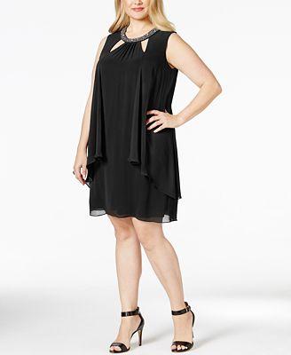 sl fashions plus size embellished keyhole shift dress - dresses