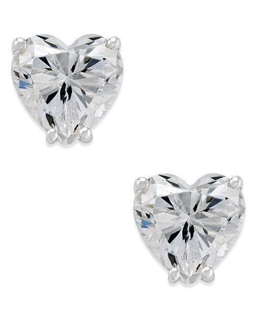 Macy's Arabella Swarovski Zirconia Heart Stud Earrings in 14k White Gold