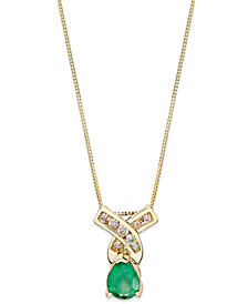 Emerald (3/4 ct. t.w.) and Channel Set Diamond (1/8 ct. t.w.) Pendant Necklace in 14k Gold
