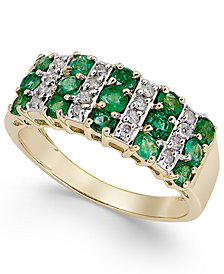 Emerald (1-1/5 ct. t.w.) and Diamond (1/5 ct. t.w.) Statement Ring in 14k White Gold
