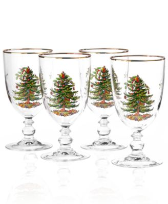 Christmas Tree Glassware Goblet, Set of 4