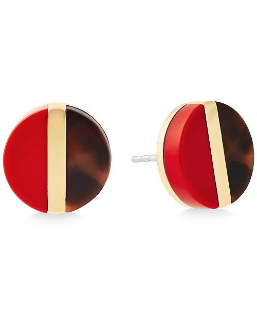 Michael Kors Split Stone Colorblocked Disc Stud Earrings
