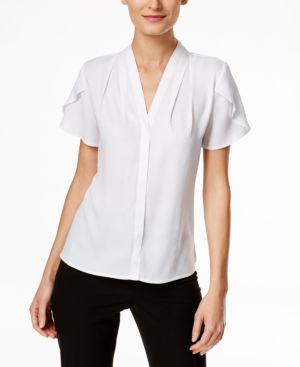 TULIP-SLEEVE BUTTON-FRONT BLOUSE