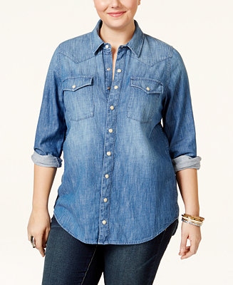 Lucky brand jeans trendy plus size button down denim shirt for Lucky brand button down shirts