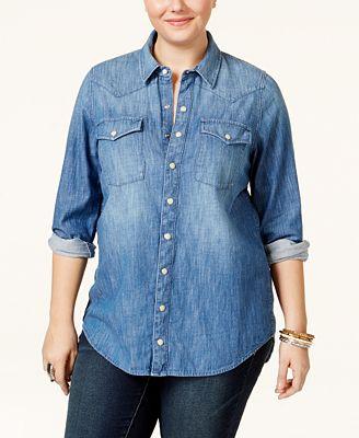 lucky brand jeans trendy plus size button-down denim shirt - tops