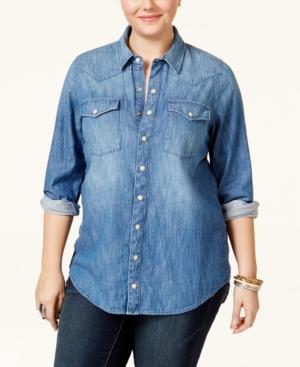 Lucky Brand Jeans Trendy Plus Size Button-Down Denim Shirt