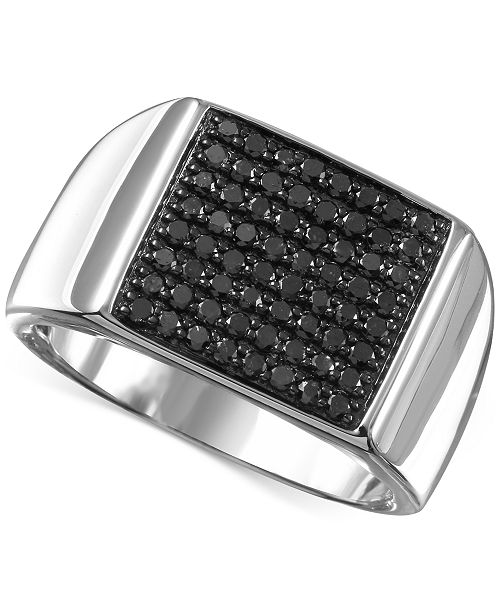 Macy S Men S Black Diamond 3 4 Ct T W Ring In Sterling Silver Reviews Rings Jewelry Watches Macy S
