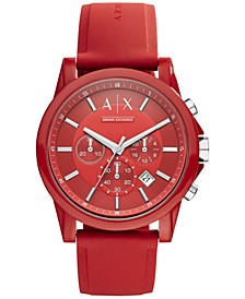 Unisex Chronograph Red Silicone Strap Watch 44mm AX1328