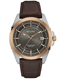 Bulova Men's Precisionist Brown Leather Strap Watch 43mm 98B267