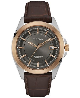 bulova s precisionist brown leather 43mm