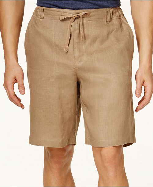 "Tasso Elba Men's Linen Drawstring 10"" Shorts, Created for Macy's"