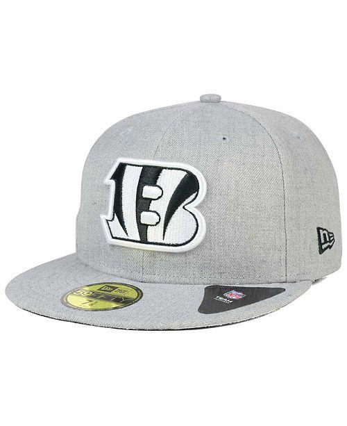 new concept d9038 98088 ... New Era Cincinnati Bengals Heather Black White 59FIFTY Fitted Cap ...