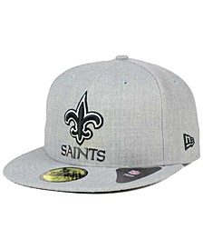 New Orleans Saints Heather Black White 59FIFTY Fitted Cap