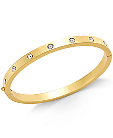 Kate Spade New York Gold Tone Bezel Set Polished Bangle Bracelet