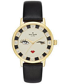 kate spade new york Women's Metro Black Leather Strap Watch 34mm KSW1052