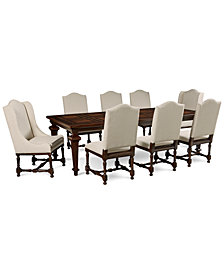 CLOSEOUT! Cortwright 9 Piece Dining Set (Expandable Dining Table, 6 Side Chairs & 2 Host Chairs)