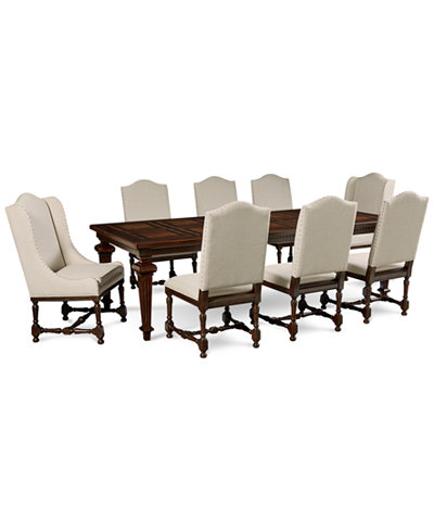 Cortwright 9 Piece Dining Set Expandable Table 6 Side Chairs 2 Host