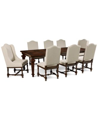 Cortwright 9 Piece Dining Set (Expandable Dining Table, 6 Side Chairs U0026 2  Host