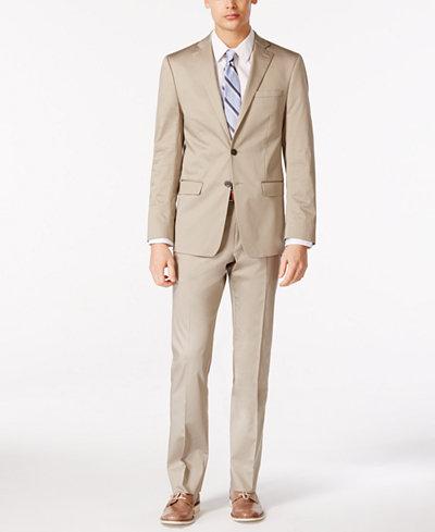 Calvin Klein X-Fit Solid Tan Slim-Fit Suit - Suits & Suit ...
