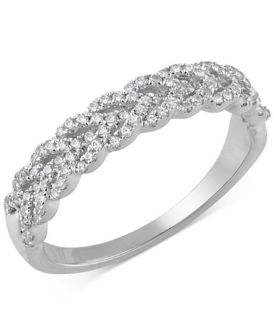 Diamond Braid Band (1/3 ct. t.w.) in 14k Gold, White Gold or Rose Gold