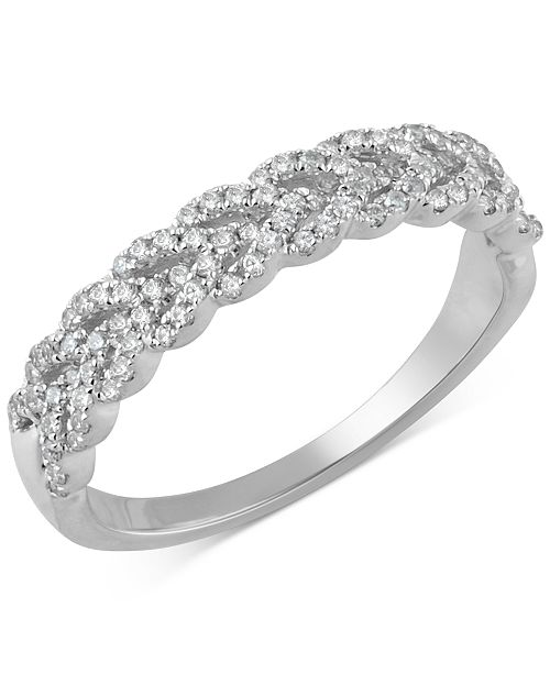 2fba39c29 Macy's Diamond Braid Band (1/3 ct. t.w.) in 14k Gold, White Gold or ...