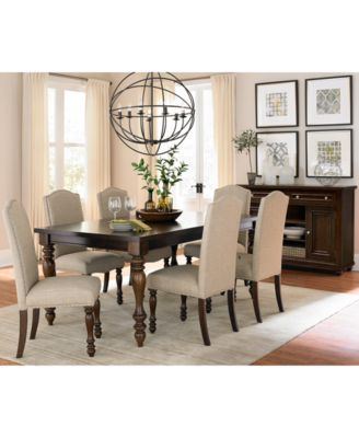 kelso 7-pc. dining set (dining table & 6 side chairs) - furniture