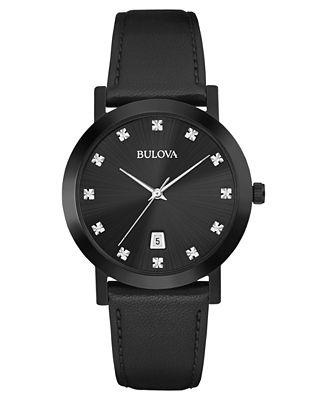Bulova Men's Diamond Accent Black Leather Strap Watch 38mm 98D124