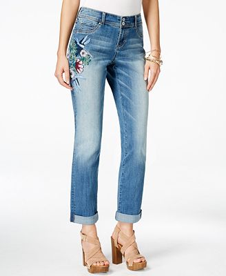 INC International Concepts Petite Embroidered Boyfriend Jeans ...