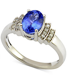 Tanzanite (1 ct. t.w.) and Diamond (1/10 ct. t.w.) Ring in 14k White Gold