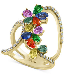 Watercolors by EFFY Multi-Gemstone (3 ct. t.w.) and Diamond (3/8 ct. t.w.) Statement Ring in 14k Gold, Created for Macy's