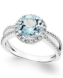 Aquamarine (1-1/2 ct. t.w.) and Diamond (1/3 ct. t.w.) Split Shank Ring in 14k White Gold