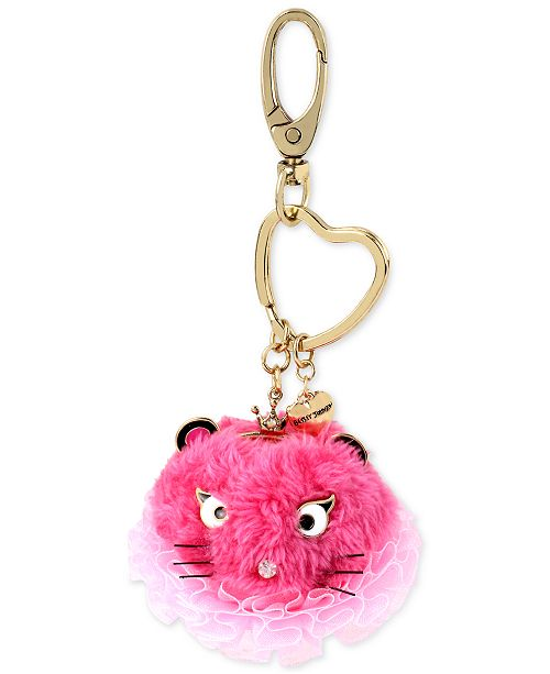 Betsey Johnson Gold-Tone Pink Mouse Furry Keychain