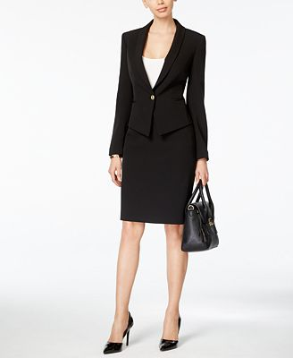 Shawl Collar Skirt Suit 115