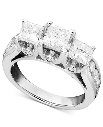 three stone diamond ring in 14k white gold 3 ct tw - Macys Wedding Rings