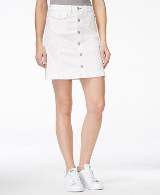 Dittos Chloe A-Line White Wash Denim Skirt - Skirts - Women - Macy's