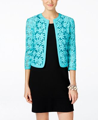 Anne Klein Floral-Lace Cropped Cardigan - Sweaters - Women - Macy's