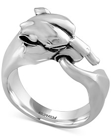 Gento by EFFY Men's Panther Head Ring in Sterling Silver