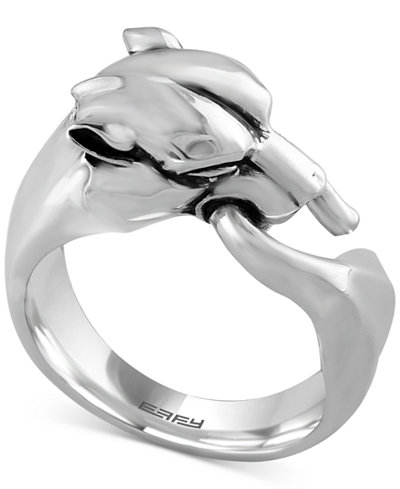 Gento By Effy Men S Panther Head Ring In Sterling Silver