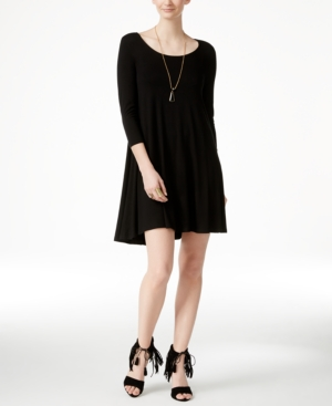 Karen Kane 'maggie' Three Quarter Sleeve Trapeze Dress In Black