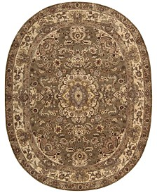 "Wool and Silk 2000 2028 Olive 7'6"" x 9'6"" Oval Rug"
