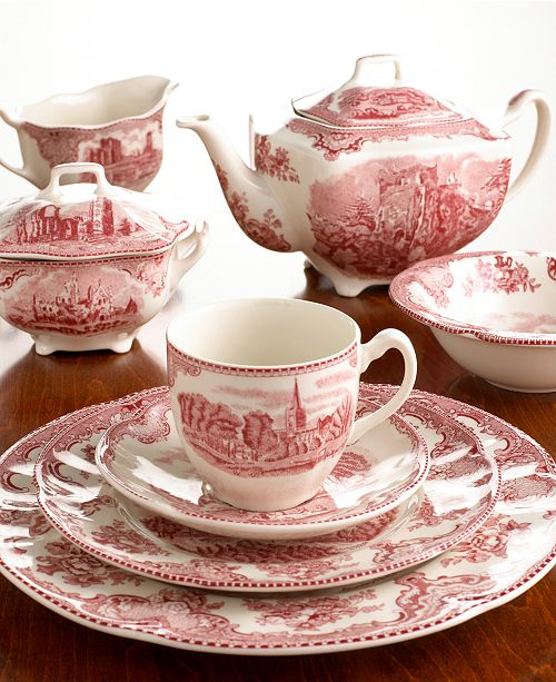 """Johnson Bros. """"Old Britain Castle Pink"""" Dinnerware Collection"""