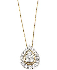 Diamond Teardrop Pendant Necklace (1 ct. t.w.) in 14k Gold, Created for Macy's